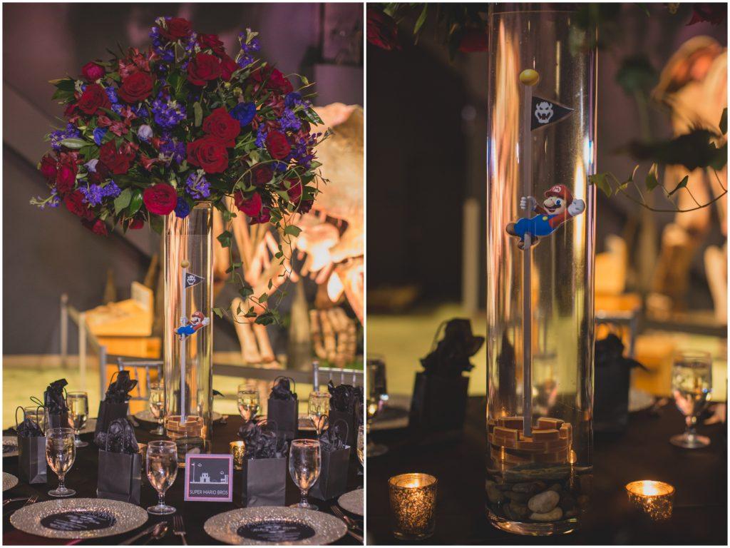 Super Mario centerpiece wedding reception | Nerd Geek Chic Wedding Theme Game of Thrones Harry Potter Super Mario Orlando Science Center Anna Christine Events Orlando Wedding Planner Ashley Jane Photography