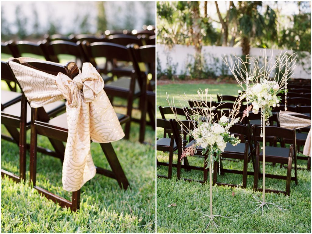 Chair Bows Aisle Decorations Flowers | Travel Inspired Themed Glamorous Gold & White Wedding Luxmore Grande Estate Anna Christine Events Justin DeMutiis Photography