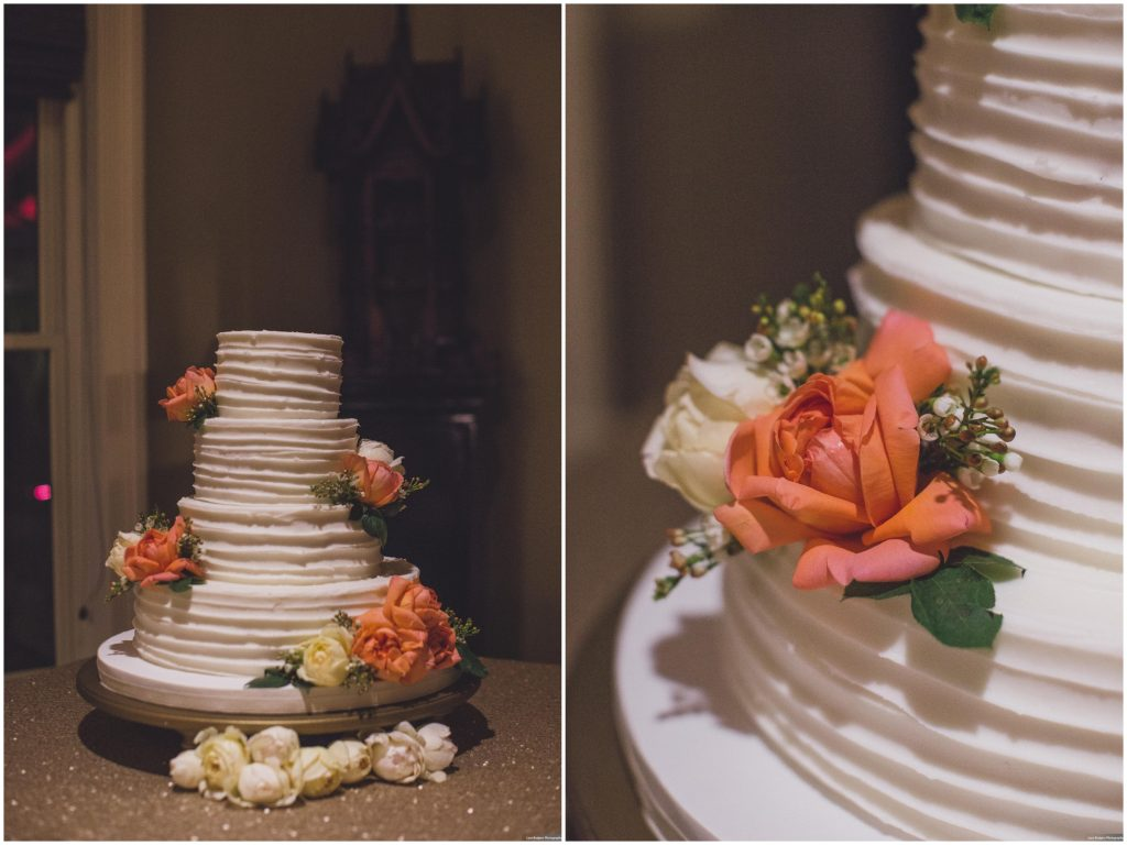 Wedding Cake Tiffany's Baked Boutique | Bright Backyard Wedding Colorful Knowles Chapel Lora Rodgers Photography Anna Christine Events