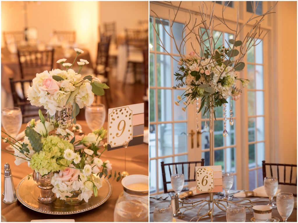 Floral Centerpieces Lee Forrest Designs | Travel Inspired Themed Glamorous Gold & White Wedding Luxmore Grande Estate Anna Christine Events Justin DeMutiis Photography