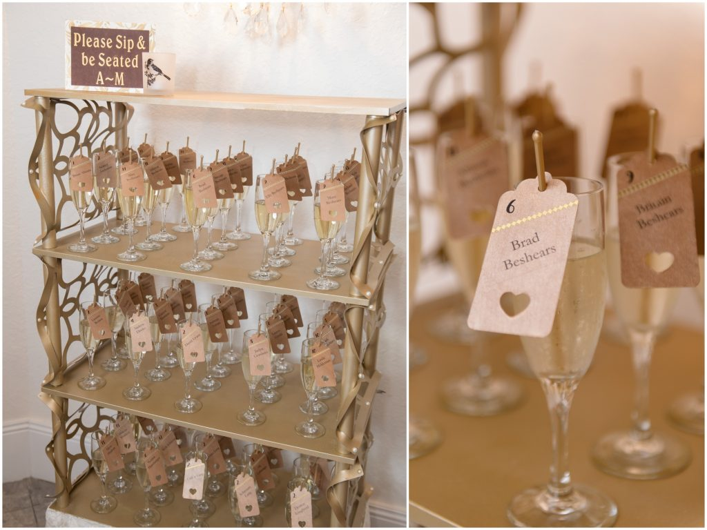Champagne Seat Assignments | Travel Inspired Themed Glamorous Gold & White Wedding Luxmore Grande Estate Anna Christine Events Justin DeMutiis Photography