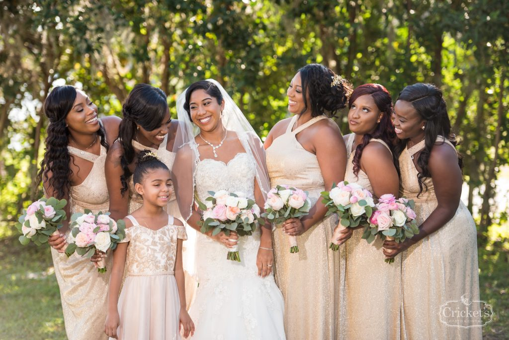 Bride & Bridesmaids with Bouquets Getting Ready Before   Classic Pink & White Beach Wedding Paradise Cove Lakeside Orlando Anna Christine Events Cricket's Photography