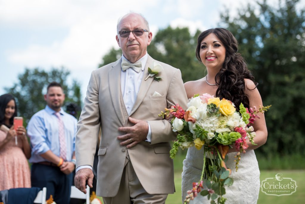 Bride Walking Down Aisle with Father | Travel Themed Inspired Wedding Mission Inn Resort Orlando Florida Anna Christine Events Cricket's Photo & Cinema