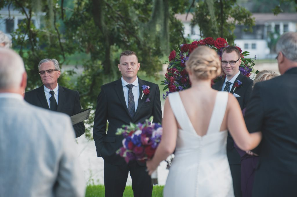 Ceremony bride & groom | Nerd Geek Chic Wedding Theme Game of Thrones Harry Potter Super Mario Orlando Science Center Anna Christine Events Orlando Wedding Planner Ashley Jane Photography