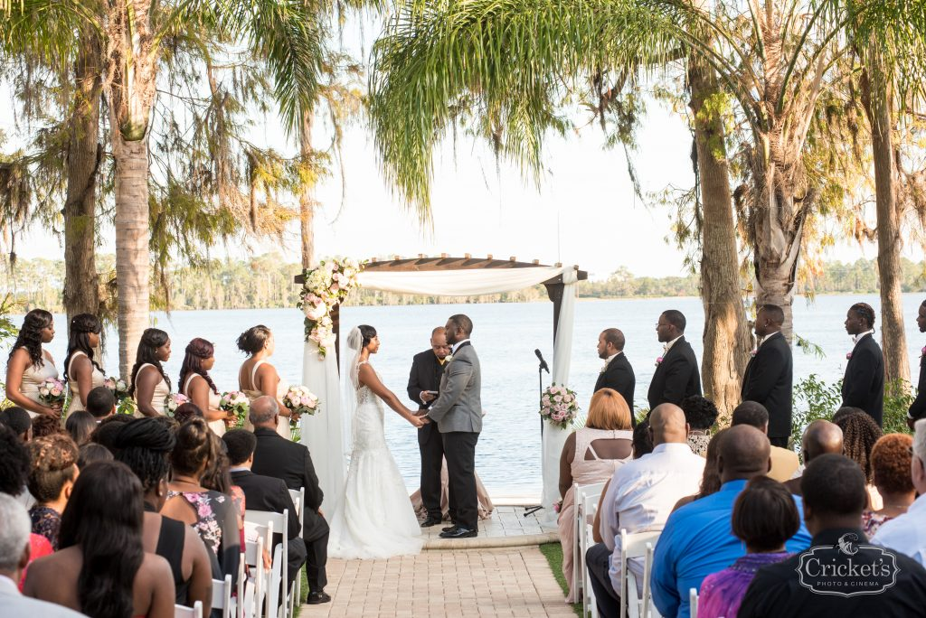 Bride & Groom at Arbor   Classic Pink & White Beach Wedding Paradise Cove Lakeside Orlando Anna Christine Events Cricket's Photography
