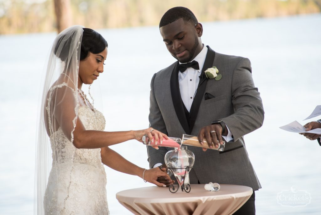 Bride & Groom Pouring Sand Ceremony   Classic Pink & White Beach Wedding Paradise Cove Lakeside Orlando Anna Christine Events Cricket's Photography