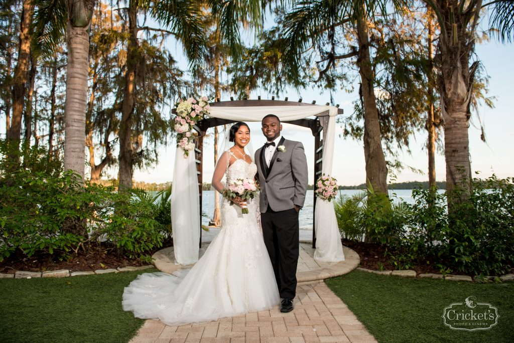 Bride & Groom After Ceremony   Classic Pink & White Beach Wedding Paradise Cove Lakeside Orlando Anna Christine Events Cricket's Photography