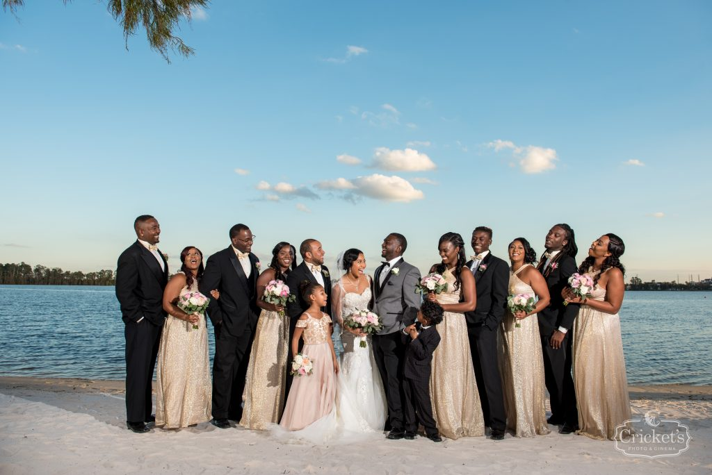 Bride & Groom with Wedding Party   Classic Pink & White Beach Wedding Paradise Cove Lakeside Orlando Anna Christine Events Cricket's Photography