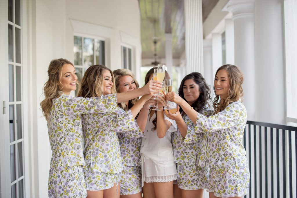 Bride & Bridesmaids Toast Getting Ready | Travel Inspired Themed Glamorous Gold & White Wedding Luxmore Grande Estate Anna Christine Events Justin DeMutiis Photography