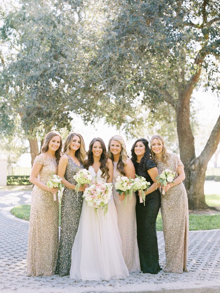 Bride & Bridesmaids Before Getting Ready | Travel Inspired Themed Glamorous Gold & White Wedding Luxmore Grande Estate Anna Christine Events Justin DeMutiis Photography