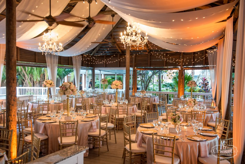 Drapery over Reception Dining Room   Classic Pink & White Beach Wedding Paradise Cove Lakeside Orlando Anna Christine Events Cricket's Photography