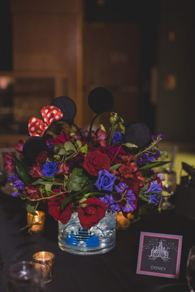 Disney themed table Mickey Minnie ears | Nerd Geek Chic Wedding Theme Game of Thrones Harry Potter Super Mario Orlando Science Center Anna Christine Events Orlando Wedding Planner Ashley Jane Photography