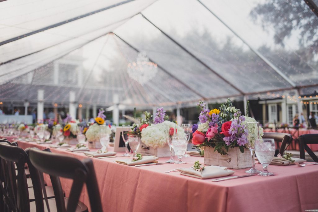 Table dinner Backyard tent reception | Bright Backyard Wedding Colorful Knowles Chapel Lora Rodgers Photography Anna Christine Events