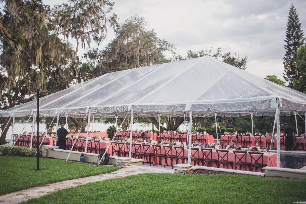Backyard tent reception | Bright Backyard Wedding Colorful Knowles Chapel Lora Rodgers Photography Anna Christine Events