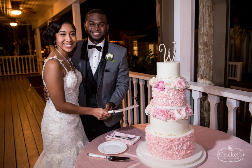Cutting the Cake Reception Sprinkles Custom Cakes   Classic Pink & White Beach Wedding Paradise Cove Lakeside Orlando Anna Christine Events Cricket's Photography
