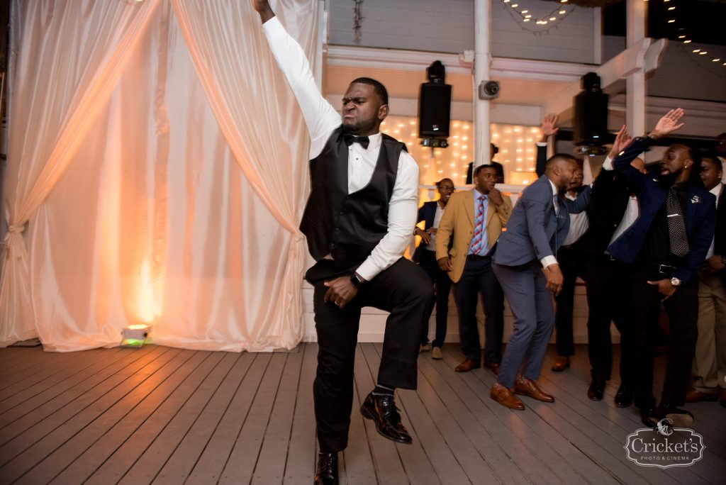 Groom Dancing Reception   Classic Pink & White Beach Wedding Paradise Cove Lakeside Orlando Anna Christine Events Cricket's Photography
