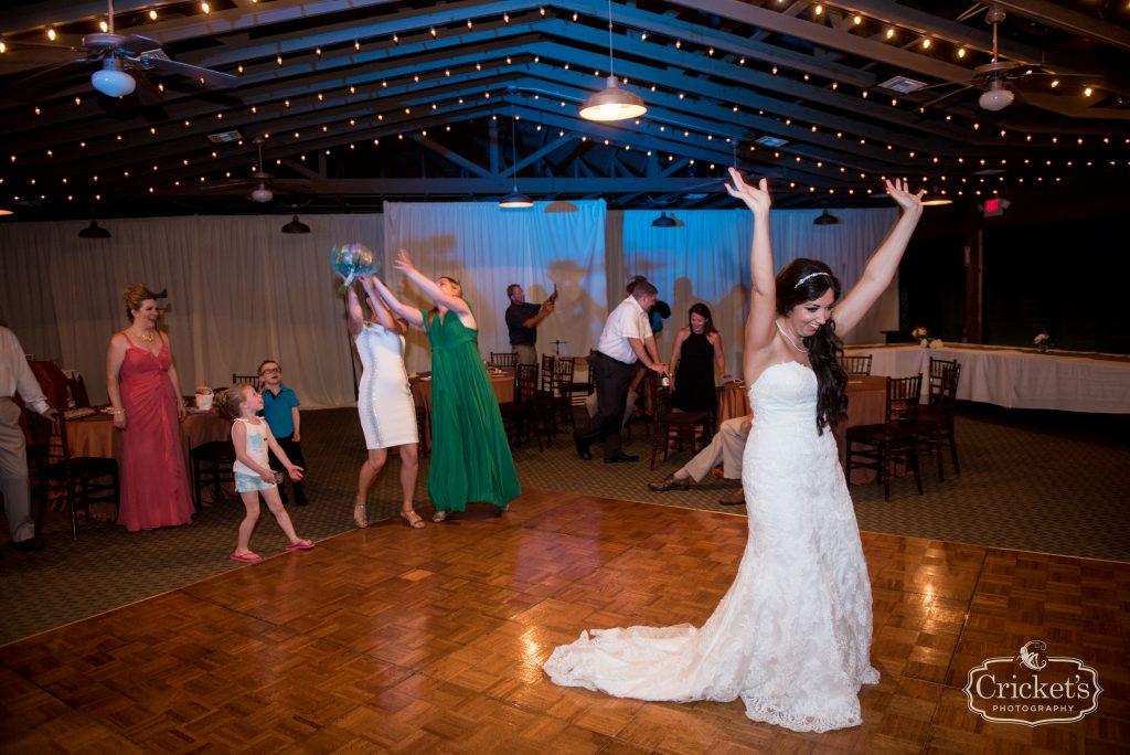 Bride Bouquet Toss Reception | Travel Themed Inspired Wedding Mission Inn Resort Orlando Florida Anna Christine Events Cricket's Photo & Cinema
