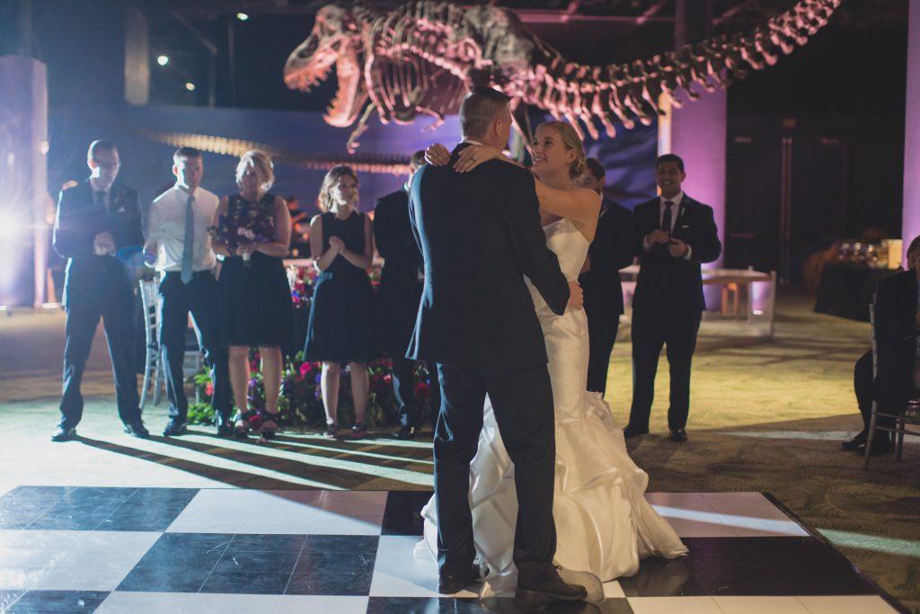 Bride & groom first dance reception | Nerd Geek Chic Wedding Theme Game of Thrones Harry Potter Super Mario Orlando Science Center Anna Christine Events Orlando Wedding Planner Ashley Jane Photography