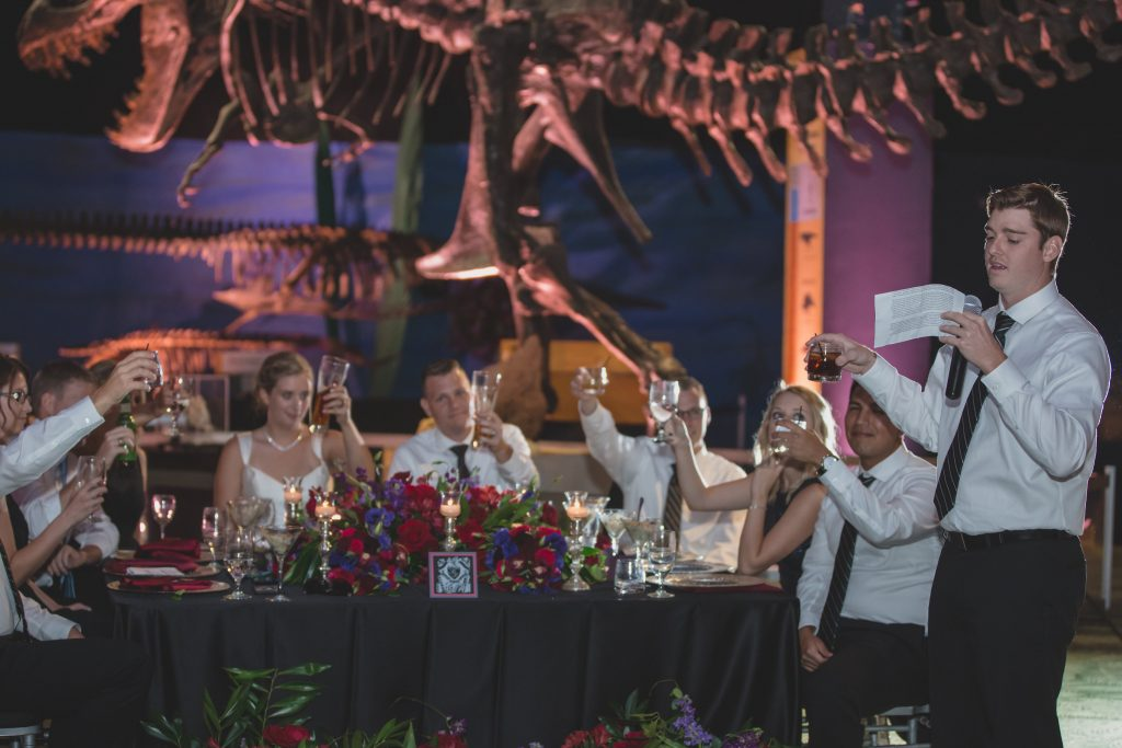 Toast at reception | Nerd Geek Chic Wedding Theme Game of Thrones Harry Potter Super Mario Orlando Science Center Anna Christine Events Orlando Wedding Planner Ashley Jane Photography