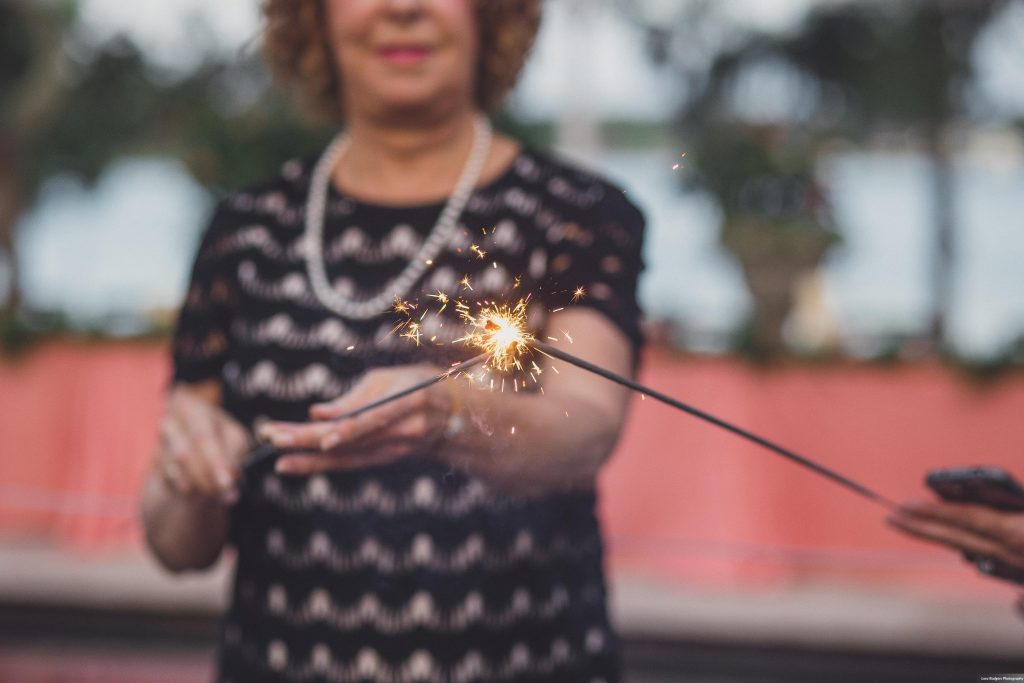 Sparkler entrance | Bright Backyard Wedding Colorful Lora Rodgers Photography Anna Christine Events