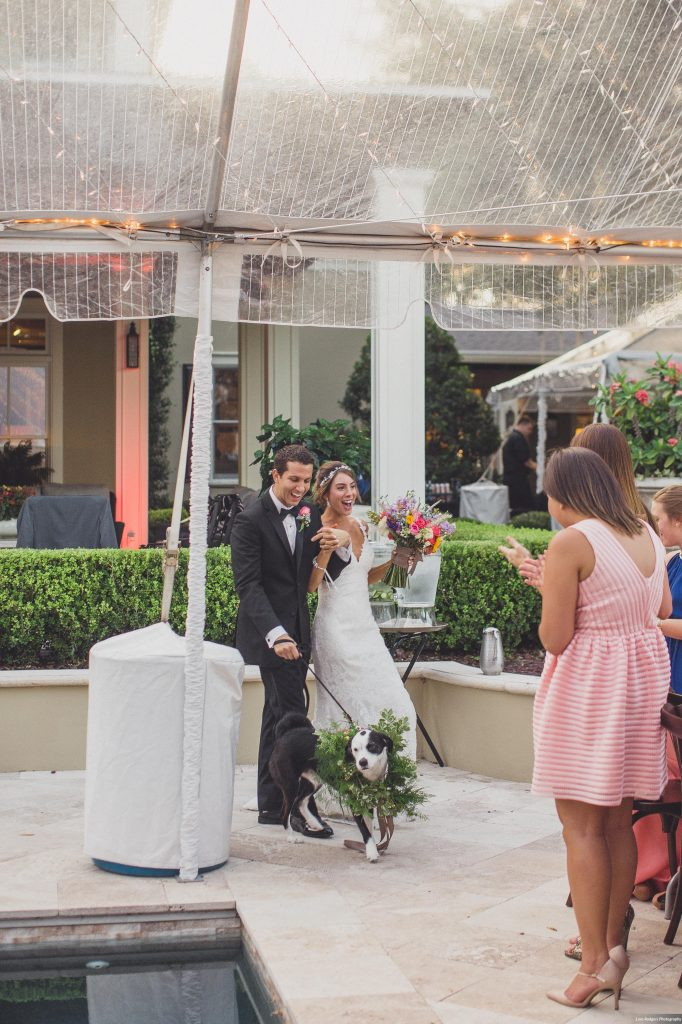 Bride & groom entrance | Bright Backyard Wedding Colorful Lora Rodgers Photography Anna Christine Events