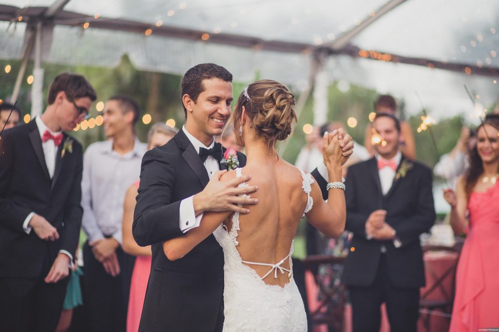 Bride & groom first dance | Bright Backyard Wedding Colorful Lora Rodgers Photography Anna Christine Events