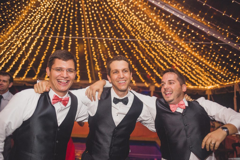Groom & groomsmen | Bright Backyard Wedding Colorful Lora Rodgers Photography Anna Christine Events