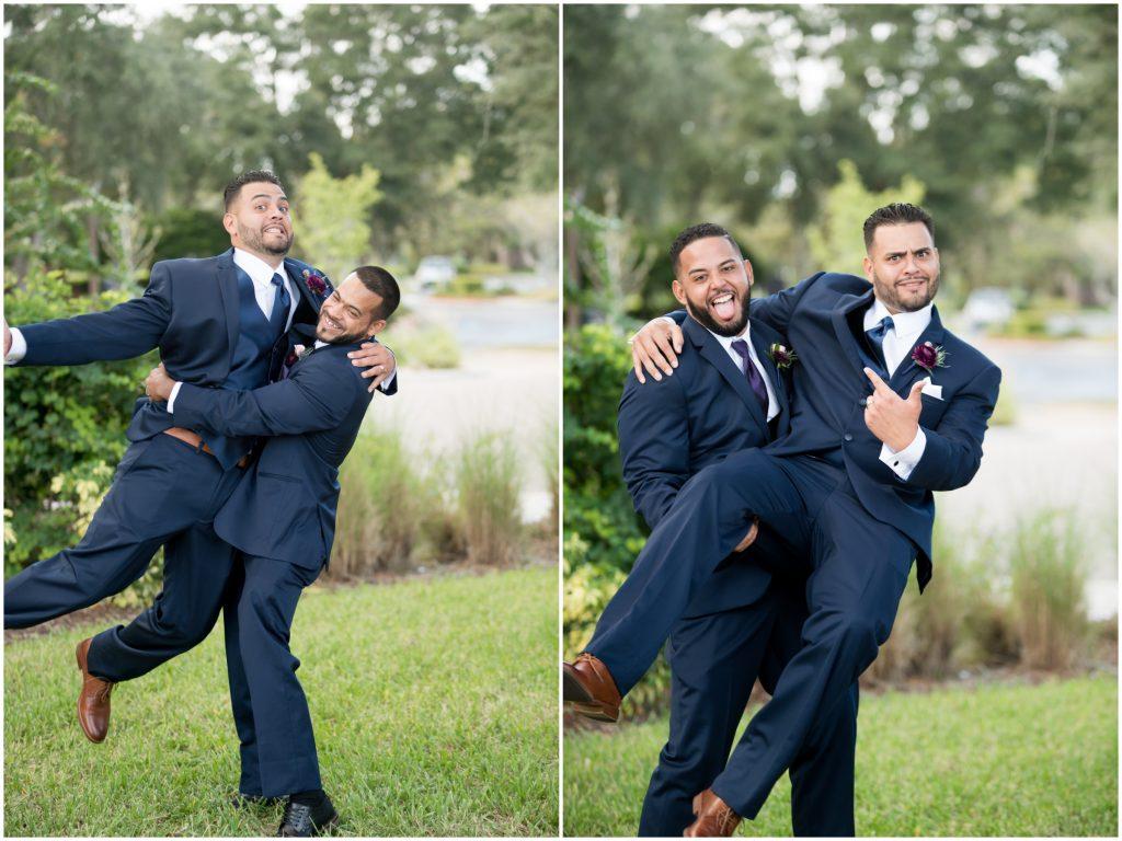 Groom & groomsmen first look photo shoot | Classic Purple & White Wedding Photography Noah's Event Venue Orlando Florida Anna Christine Events Wedding Planner Jessica Leigh