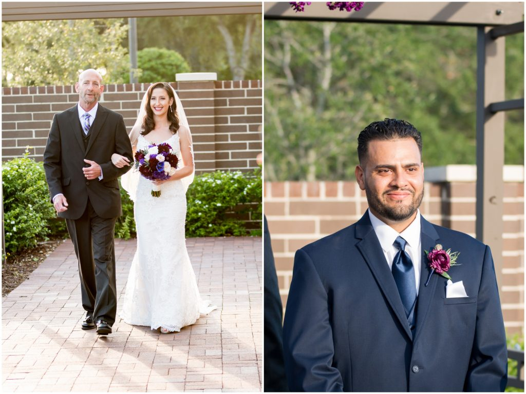 Bride walking down aisle at ceremony to groom | Classic Purple & White Wedding Photography Noah's Event Venue Orlando Florida Anna Christine Events Wedding Planner Jessica Leigh