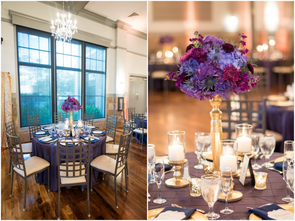 Tables at reception floral centerpiece | Classic Purple & White Wedding Photography Noah's Event Venue Orlando Florida Anna Christine Events Wedding Planner Jessica Leigh