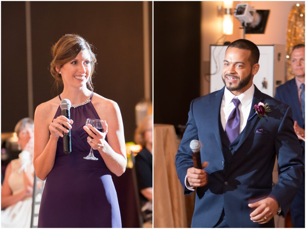 Maid of honor and best man speeches toasts | Classic Purple & White Wedding Photography Noah's Event Venue Orlando Florida Anna Christine Events Wedding Planner Jessica Leigh