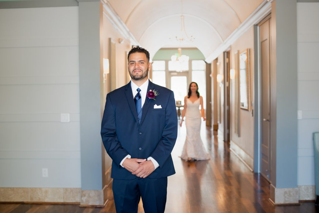 Groom waiting for first look | Classic Purple & White Wedding Photography Noah's Event Venue Orlando Florida Anna Christine Events Wedding Planner Jessica Leigh