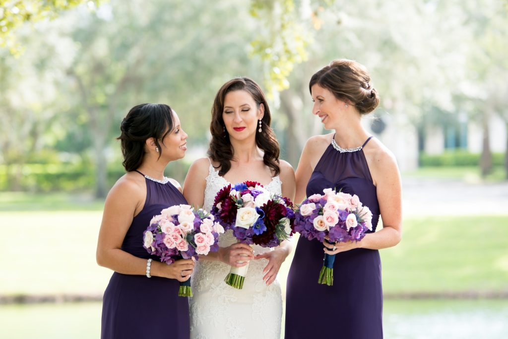 Bride & bridesmaids first look | Classic Purple & White Wedding Photography Noah's Event Venue Orlando Florida Anna Christine Events Wedding Planner Jessica Leigh
