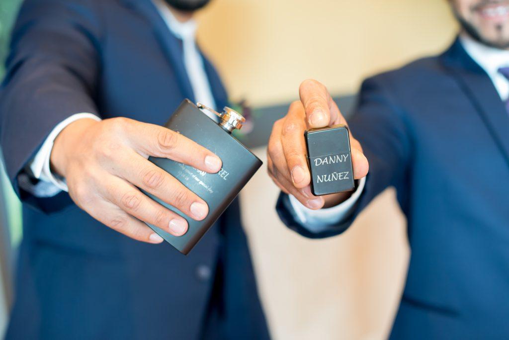 Groom & groomsmen gifts flask lighter | Classic Purple & White Wedding Photography Noah's Event Venue Orlando Florida Anna Christine Events Wedding Planner Jessica Leigh