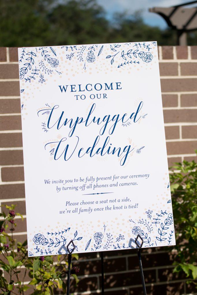 Unplugged Wedding ceremony sign | Classic Purple & White Wedding Photography Noah's Event Venue Orlando Florida Anna Christine Events Wedding Planner Jessica Leigh