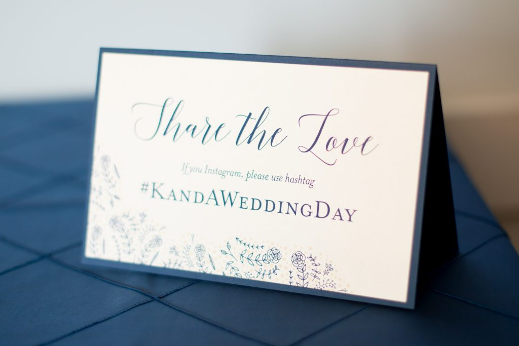 Wedding hashtag | Classic Purple & White Wedding Photography Noah's Event Venue Orlando Florida Anna Christine Events Wedding Planner Jessica Leigh