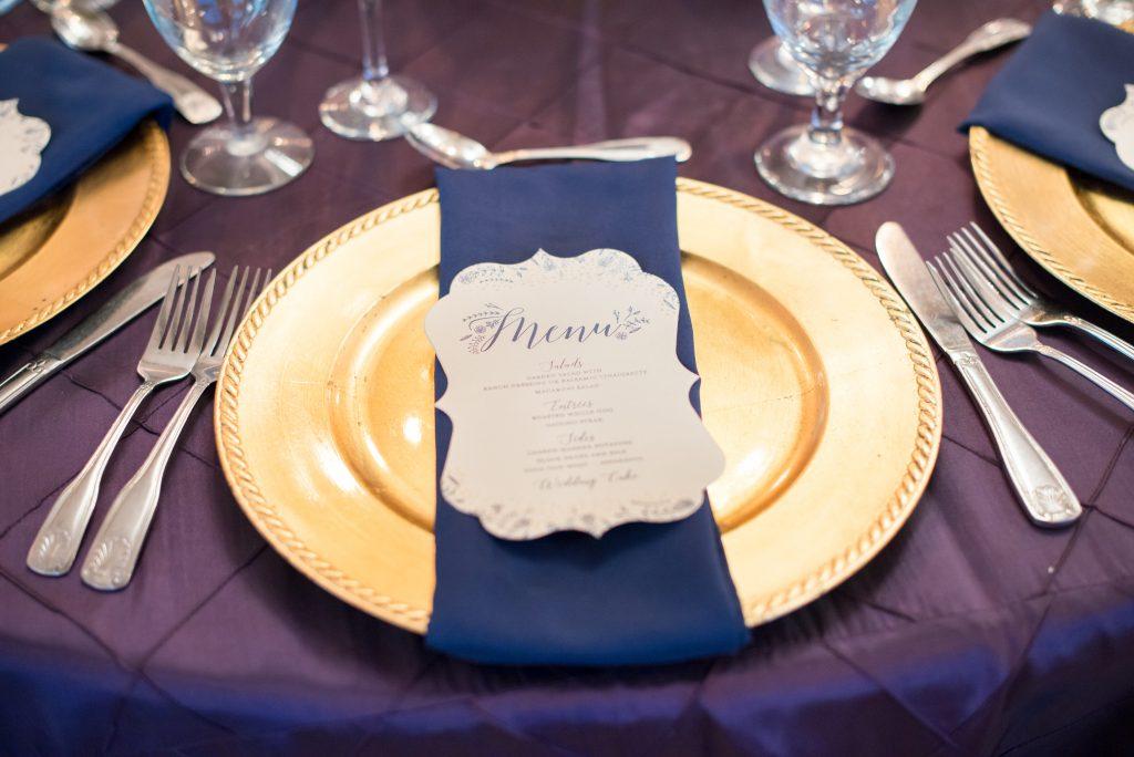 Table setting reception dinner | Classic Purple & White Wedding Photography Noah's Event Venue Orlando Florida Anna Christine Events Wedding Planner Jessica Leigh