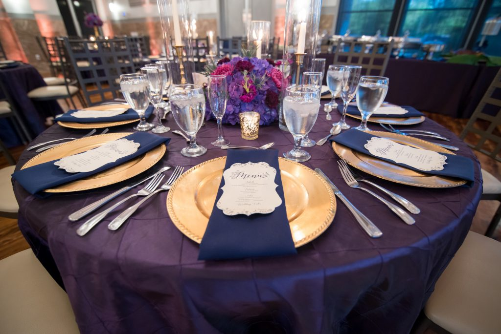 Table setting for dinner reception | Classic Purple & White Wedding Photography Noah's Event Venue Orlando Florida Anna Christine Events Wedding Planner Jessica Leigh