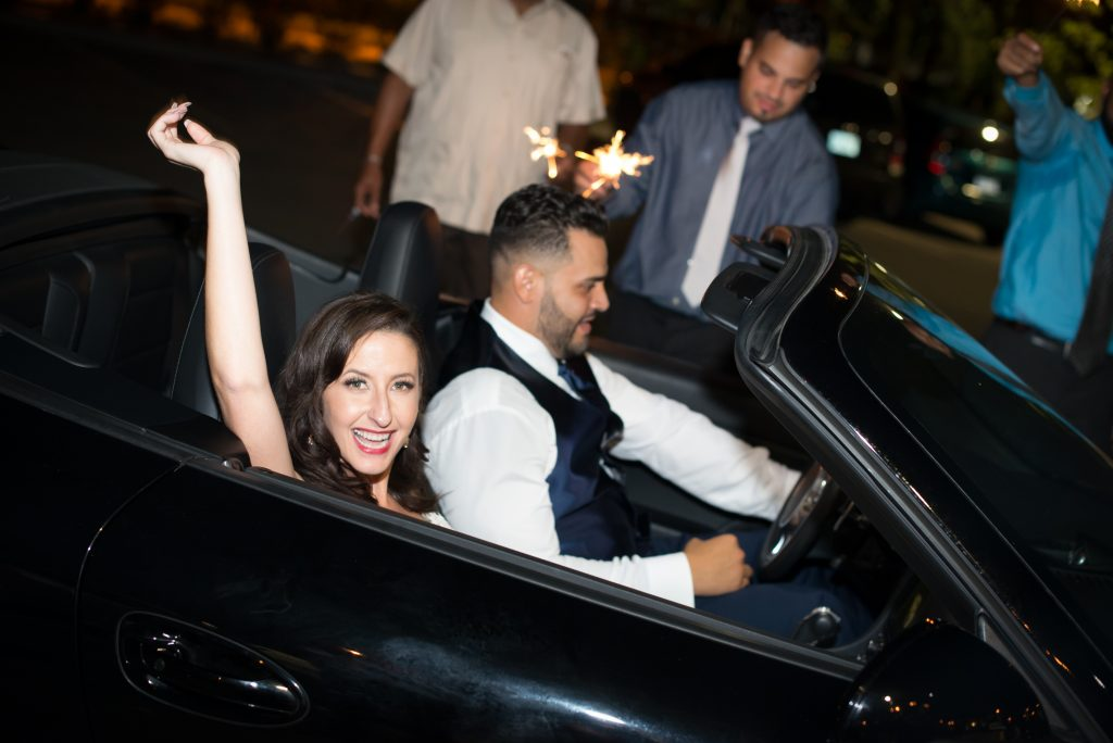 Bride & groom getaway car | Classic Purple & White Wedding Photography Noah's Event Venue Orlando Florida Anna Christine Events Wedding Planner Jessica Leigh