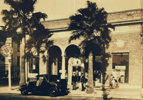 Front of the future Pittsburg Post Dispatch building in the 1930's