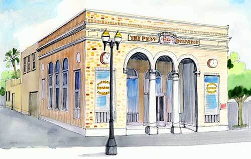 Color illustration of the Pittsburg Post Dispatch building