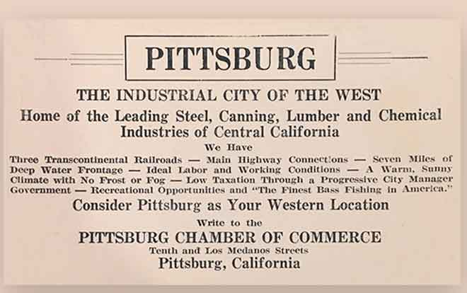Card promoting Pittsburg, CA as the City of Industry