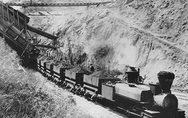 Train hauling coal in Somersville, CA circa 1875