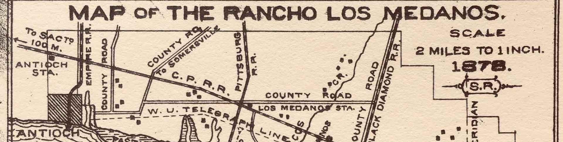 Map of Rancho Los Medanos in 1878 Pittsburg California
