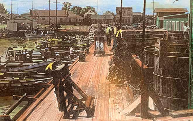 Colorized sketch of the Wharf in the 1930s, Pittsburg, CA