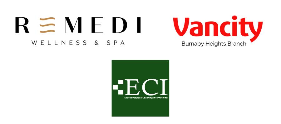 Logos of Remedi Wellness & Spa (top left), Vancity Burnaby Heights Branch (top right), ExecutiveSpeak Coaching International (bottom)