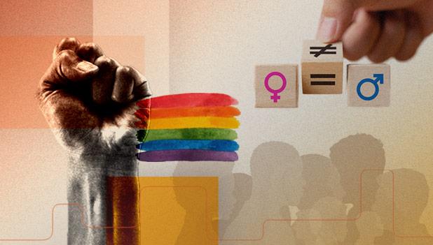 Imagens ilustrativas: silhueta de pessoas, um punho em riste e riscos de tinta aquarela formando um arco-íris.
