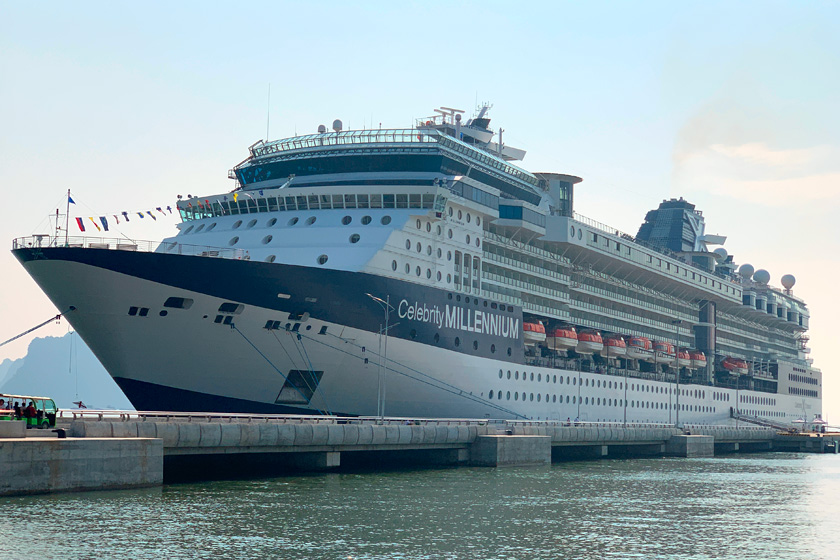 The Celebrity Millennium cruise ship docked at newly opened pier in Halong Bay Vietnam.