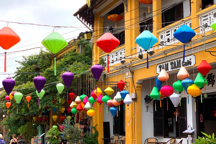 Lanterns hanging in the streets of Hoi An Vietnam