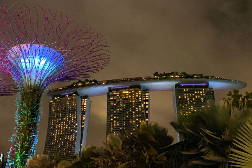 Marina Bay Sands at night from Gardens by the Bay in Singapore